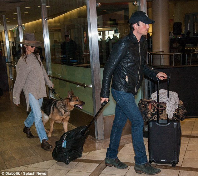 Jet setters! Ian Somerhalder and his wife Nikki Reed both donned denim and hats as they landed at LAX Sunday following his 38th birthday getaway to Atlanta and Chicago