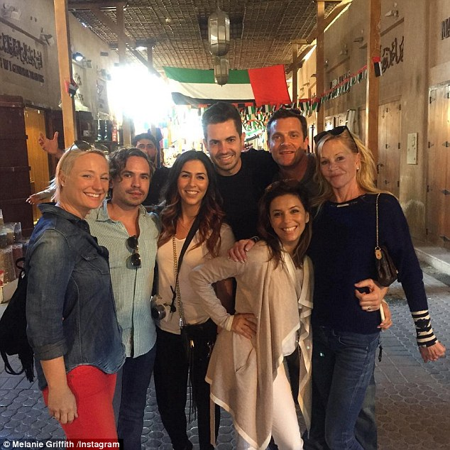 Sightseeing trip: Melanie has been taking in the local attractions, captioning this Instagram snap, 'Hangin with @evalongoria and the gang at Spice Market in Dubai'