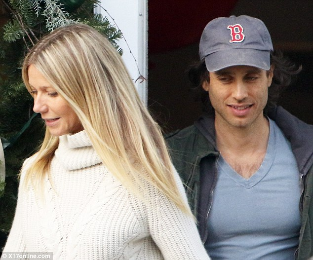 Casual: Gwyneth Paltrow was seen leaving her holiday store with boyfriend Brad Falchuk on Saturday as they recently sparked engagement rumours