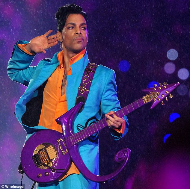 Prince (seen here performing during the Super Bowl at Dolphins Stadium in Miami on February 4, 2007) was found dead at his Minnesota home from an apparent overdose of painkillers