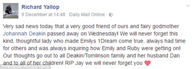 Richard posted the tribute on his Facebook page on Friday after Johannah's death was annouced