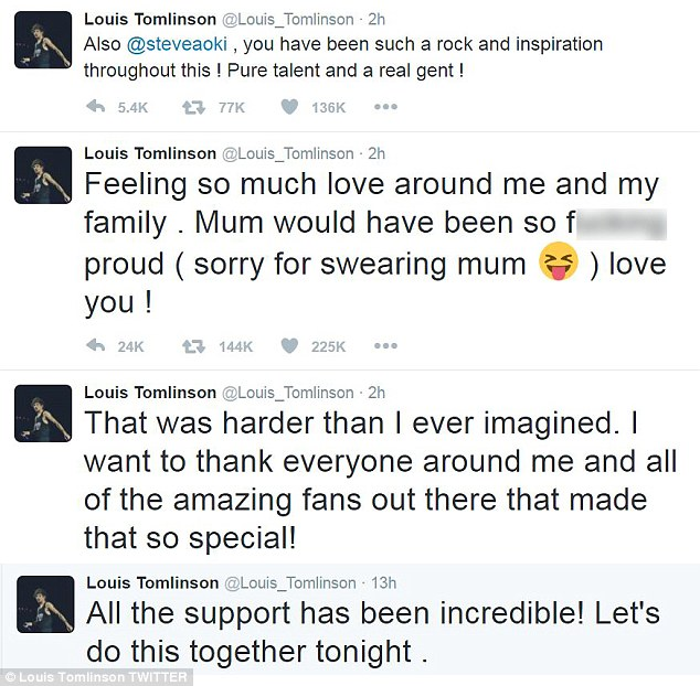 'Harder than I ever imagined': Following the performance Louis took to Twitter to thank his millions of fans for their outpouring of support