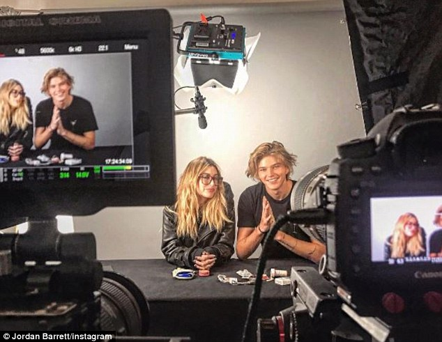 Just friends? Jordan Barrett posted a picture with Hailey Baldwin on Instagram on Sunday as the pair appeared on screen together for a filming session in New York