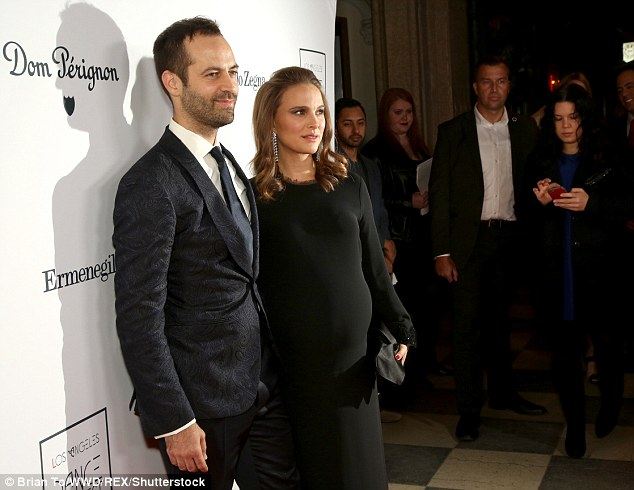 A good looking pair: Portman was the star attraction as she joined her husband at the event