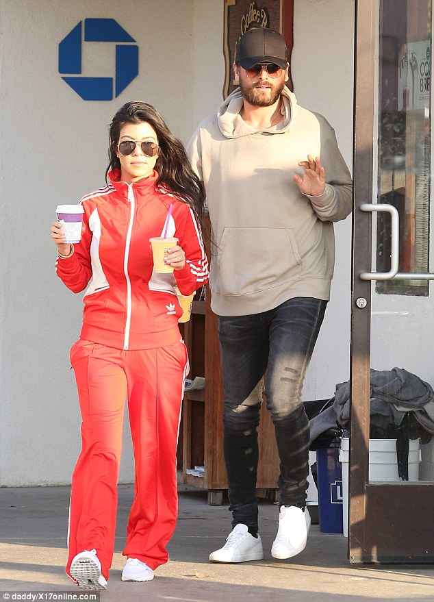 On the right track? Not on the flight with them was their other son, two-year-old Reign, and mother Kourtney, though it is rumored that the on-again-off-again couple may be seriously trying to get back together (couple pictured together on Monday)