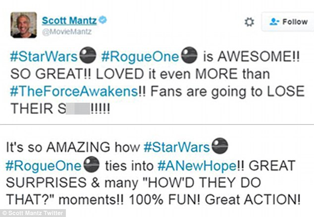 The Force is strong!Film critic for Access Hollywood, Scott Mantz, gushed over the film in several tweets