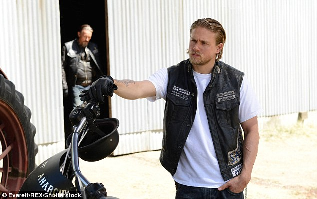 Playing a bad boy: Charlie had longer hair when he became a household name after starring as motorcycle riding outlaw Jax Teller in the Sons Of Anarchy; seen in an August 2013 episode of the show