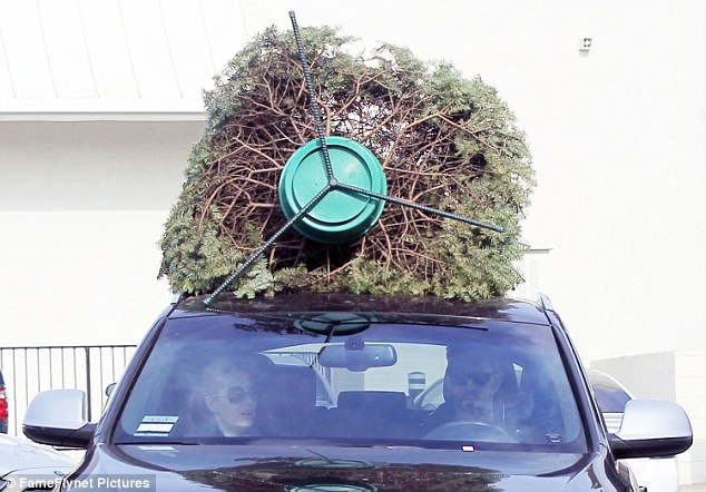 Got one! The actress was spotted driving off with the tree on the top of her car