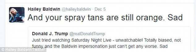 Having her say:Last month, she took to her Twitter account to take a swipe at U.S President- Elect Donald Trump, after he hit out at her uncle, Alec Baldwin, on his personal account