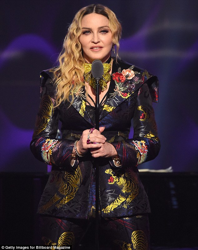 Powerful: Madonna, 58, gave a fiery speech about her career and the 'blatant sexism' she has faced during her three-decade-long career
