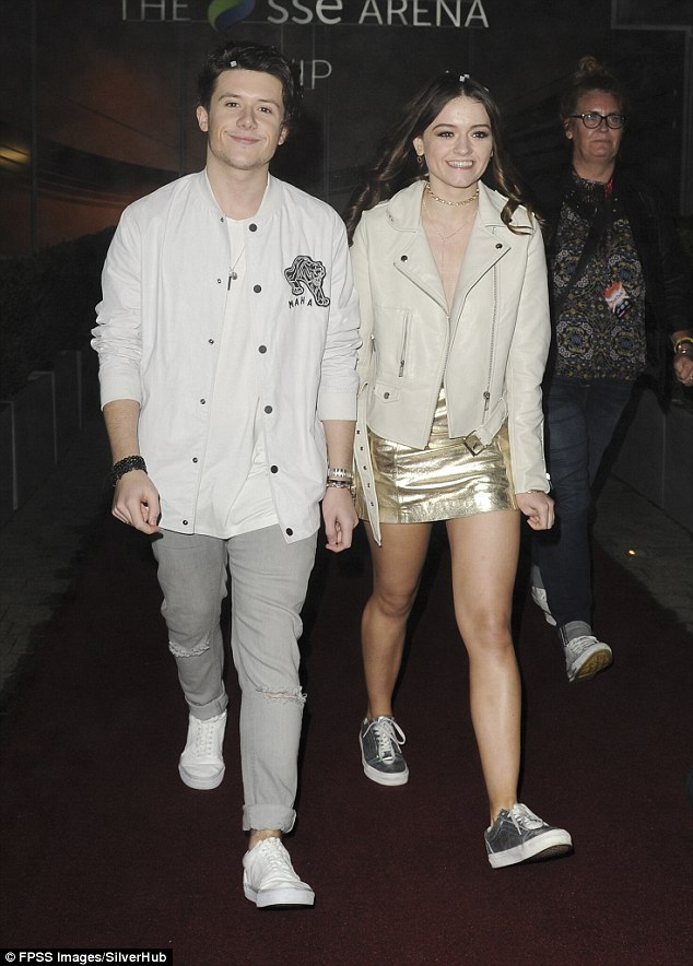 The love factor: Looking happier than ever as they emerged from the live show, the cute couple were both grinning from ear-to-ear as they headed home for the evening