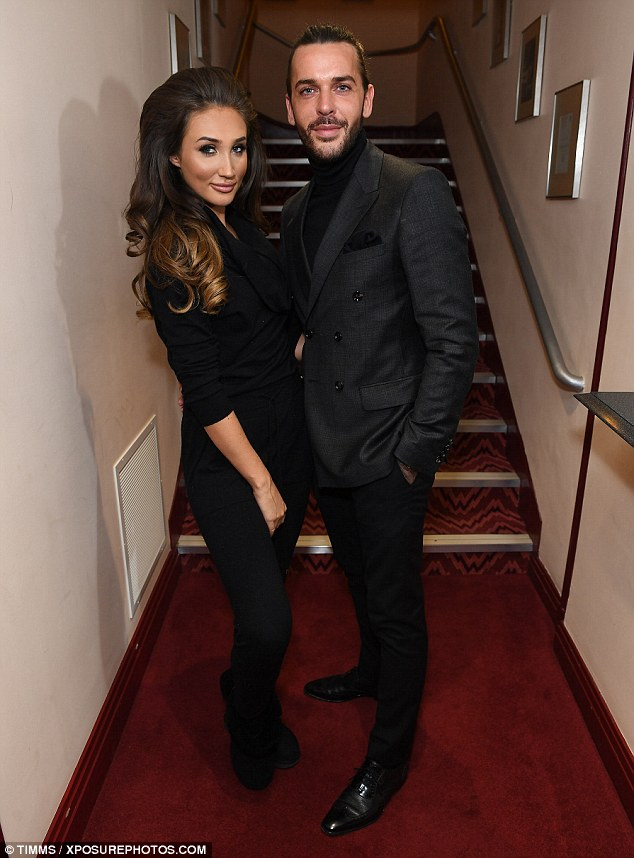 Proud: TOWIE stars Megan, 24, and Pete, 28, put on a PDA as they celebrated her performance backstage later in the evening