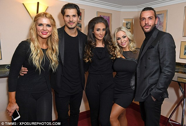 Quite the crowd! Kristina's co-star Gleb Savchenko was supported by his stunning wife Elena Samodanova (far left), while Pete Wicks supported his girlfriend Megan McKenna's West End debut