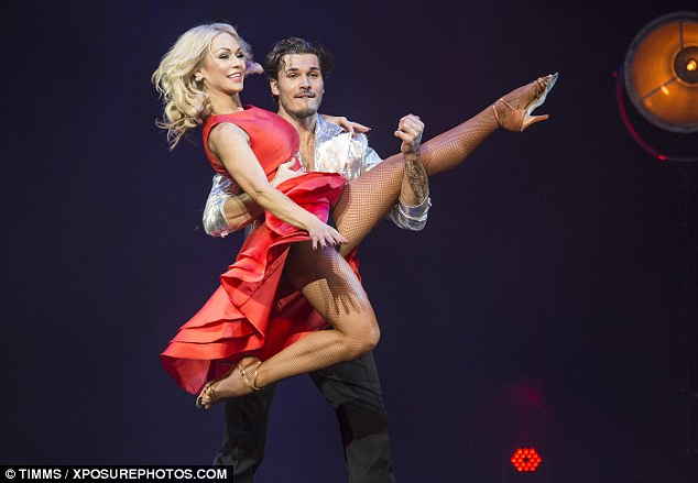 Taking centre-stage: She put on an animated performance with fellow Strictly Come Dancing proGleb Savchenko