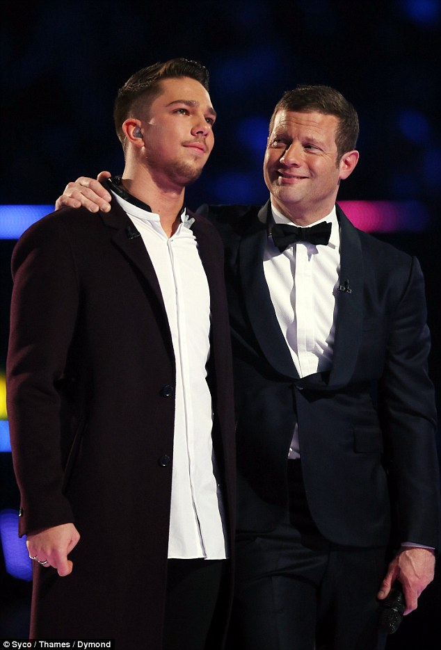 Supportive: Host Dermot gave the rising star a supportive hug after the announcement