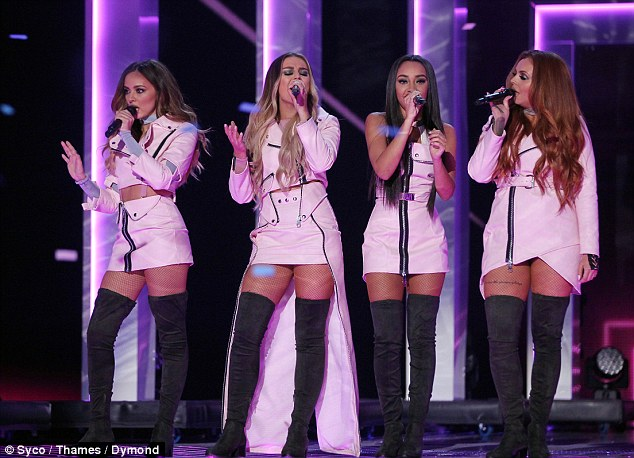 Upping the sex appeal:Following Sharon's upsetting outburst, Former X Factor winners Little Mix took the stage as the result approached as they joined Charlie Pluth in belting out their new single Oops before he departed the stage and they gave a stunning rendition of their hit Touch