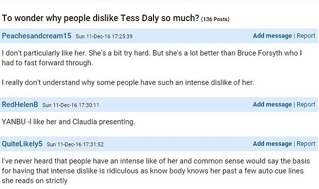 Peachesandcream15 said she couldn't understand people's 'intense dislike' of the Strictly presenter in a post on the Mumsnet parenting forum