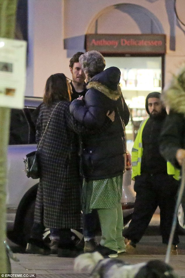 Sharing a hug: Jenna and her former acting companion still seemed close
