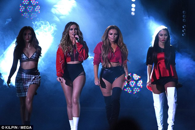 Rocking it: As the news emerged, Perrie was onstage with bandmates (from left) Jade Thirlwall, Jesy Nelson and Leigh-Anne Pinnock