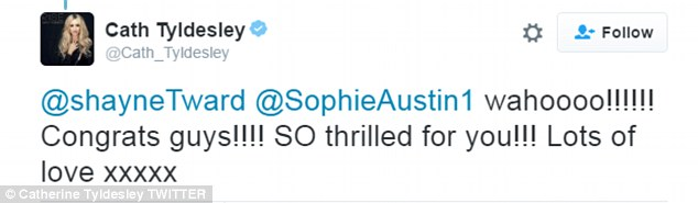 Show of support: Catherine, who plays Eva Price on the show, enthused: 'SO thrilled for you!'
