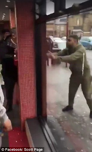 The men also started to shout at the man who was inside