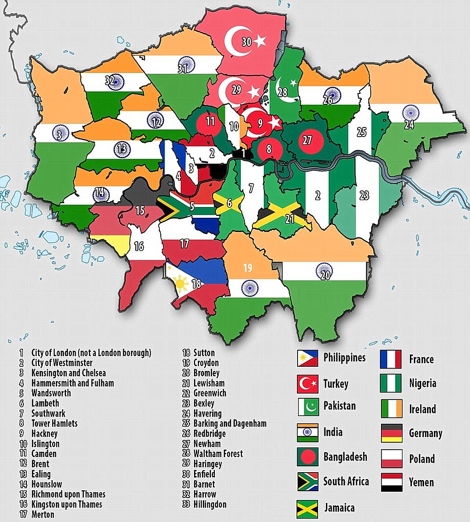 Picture of London: This map shows the largest foreign born populations in London by borough, with people from India being the dominant nationality in ten areas