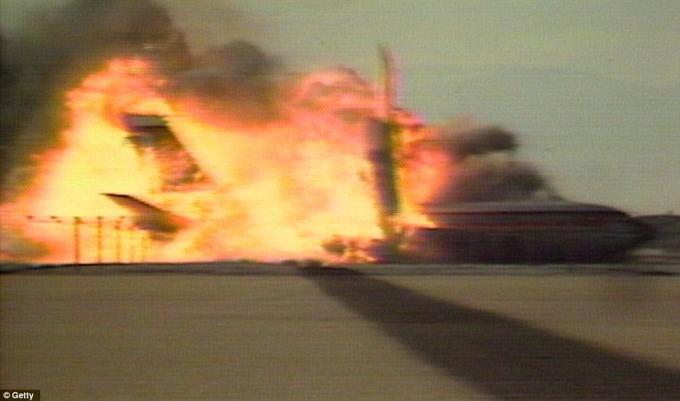 The huge amount of fuel on board - far more than an airliner at the end of its flight would be carrying - created an inferno that burned for an hour