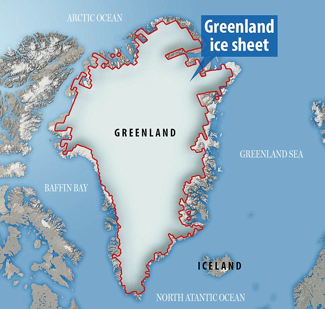 The massive ice sheet covering Greenland is four times bigger than California - and holds enough water to raise global sea level by more than 20 feet (6 metres) if most of it were to melt