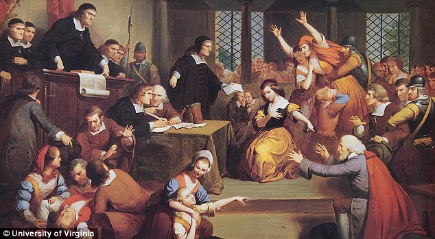 This dramatic painting of the Salem witch trials was created by New York artist Thompkins Matteson, in 1855