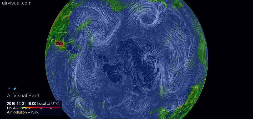 As well as air pollution levels, the graphic also tracks wind and weather patterns as they hypnotically twist and swirl around one another over Earth's surface