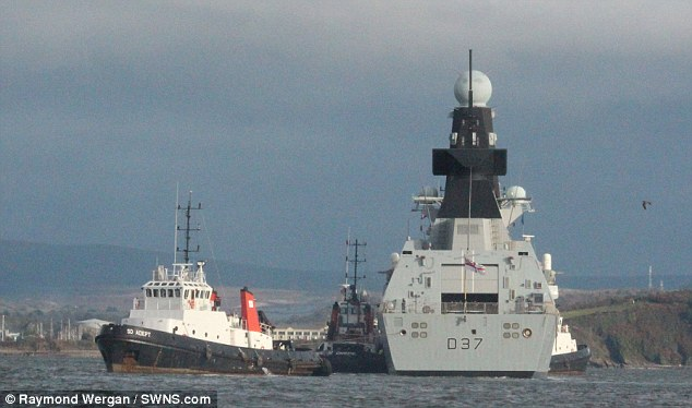 A Royal Navy warship had to be be towed back into port with 'technical issues' just two days after leaving