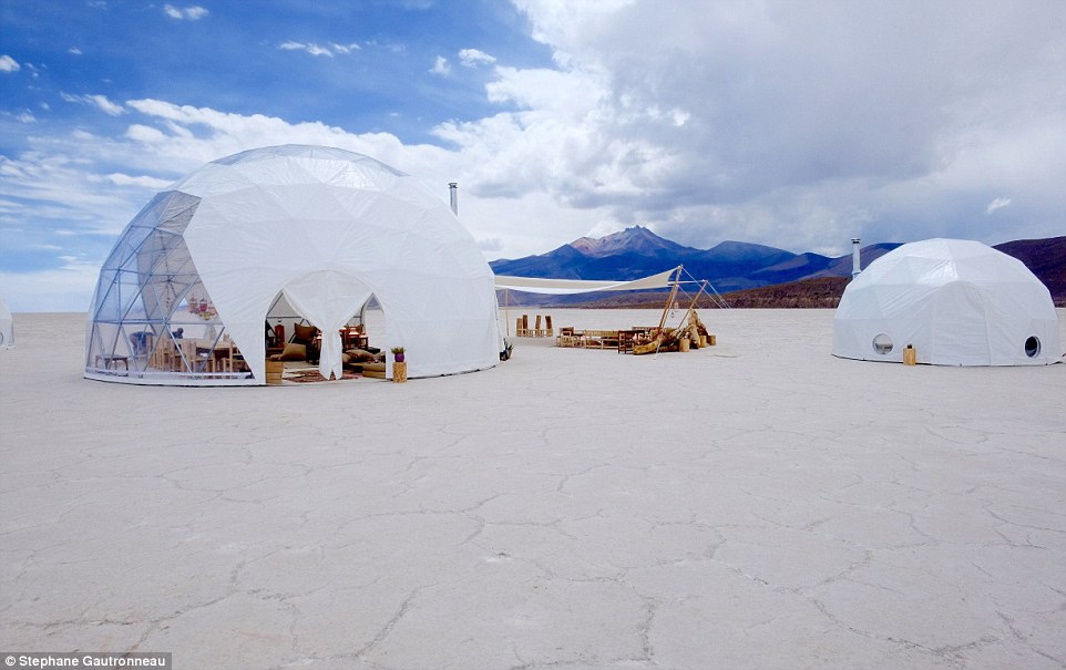 Choosing from an online room service style menu, Black Tomato can also arrange for a yoga instructor, a local chef, Michelin-starred chef and supplies shipped from their favourite store to be transported to the location. Pictured are two dome tents in Bolivia