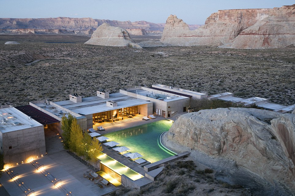 Aman's desert sanctuary is set in an otherworldly Utah location with its swimming pool built from a 164million-year-old rock