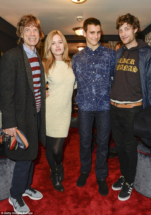 Mick Jagger, Georgia May Jagger, Gabriel Jagger and James Jagger pictured in 2014