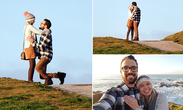 Unsuspecting couple caught on camera during an impromptu marriage proposal in Cornwall