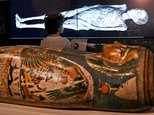 A young visitor looks at a 3D image of a CT scan of an Egyptian mummy, during a preview for a joint British-Australian exhibition in Sydney ©WILLIAM WEST (AFP)