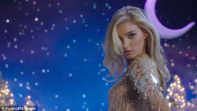 Dazzling: Elsa Hosk opened the clip in a dazzling body suit adorned with beading and sequins on a sheer base, which showed off every inch of her stunning figure