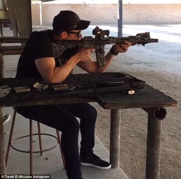 Taking aim: Christina, 33, called police back in May to say that Tarek, 35, was suicidal and had a gun - Tarek on the firing range with an AR-15 last week in an Instagram video which has since been deleted