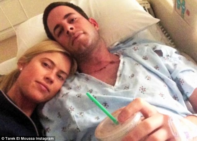Great news: Tarek announced two weeks ago that he was cancer free after discovering he had thyroid cancer when a viewer of the program noticed a lump in his throat - pictured after surgery when he was fist diagnosed
