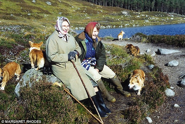 Close friends: Queen Elizabeth and her friend and first cousin, the late Margaret Rhodes, take a break during a trek through the deer stalking area at Balmoral, Scotland