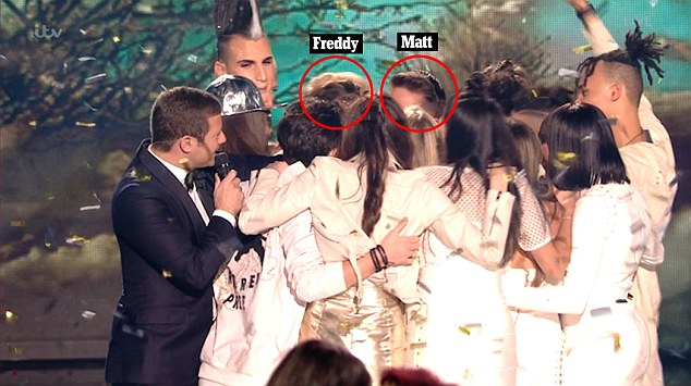 'Did I see him kiss Freddy?' As Matt was crowned the winner of The X Factor on Sunday night, fans speculated that he kissed former contestant Freddy on stage
