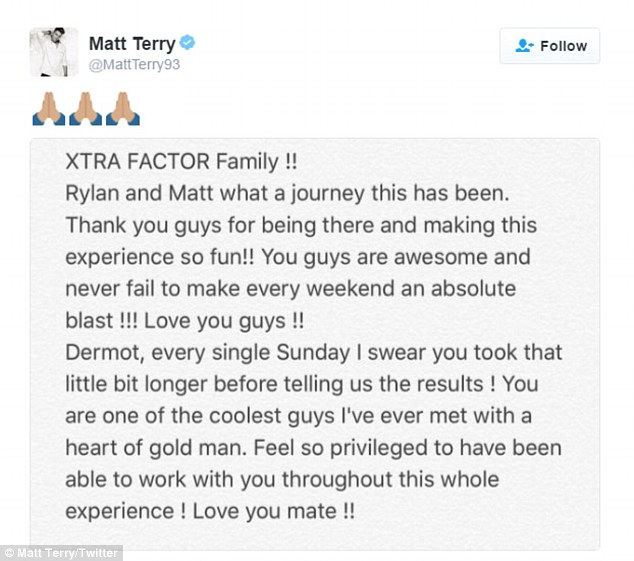 Gratitude: Following his win, Matt has taken to Twitter to express his gratitude all around