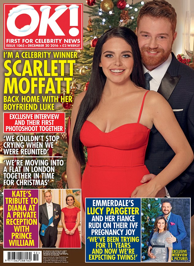 The happy couple: While Scarlett Moffatt appeared to love her time in the outback, one joyous element of her return was her reunion with boyfriend Luke Crodden, 28, with whom she appears on the cover of this week's OK! magazine