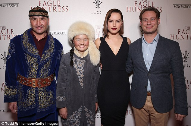Finally hits UK theaters this Friday! Ridley - whose middle name is 'Jazz' - last executive produced and narrated the Kazakh documentary The Eagle Huntress (pictured October 18)