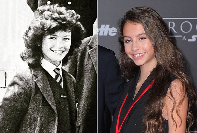 Catherine Zeta Jones, aged 14 at Dumbarton House School, left, and her daughter Carys, right, who is now 13