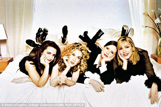 Cattrall (right) with Kristin Davies, Sarah Jessica Parker and Cynthia Nixon in Sex And The City