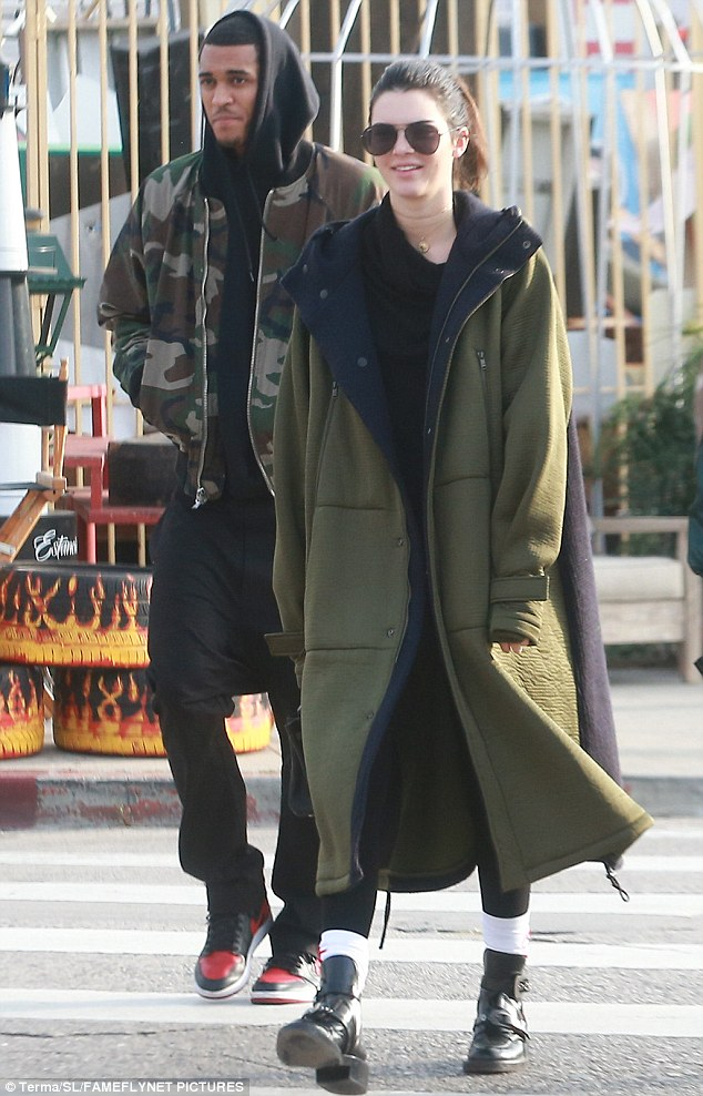 There he is: Kendall Jenner was seen with Jordan Clarkson as she Christmas shopped in Hollywood on Monday