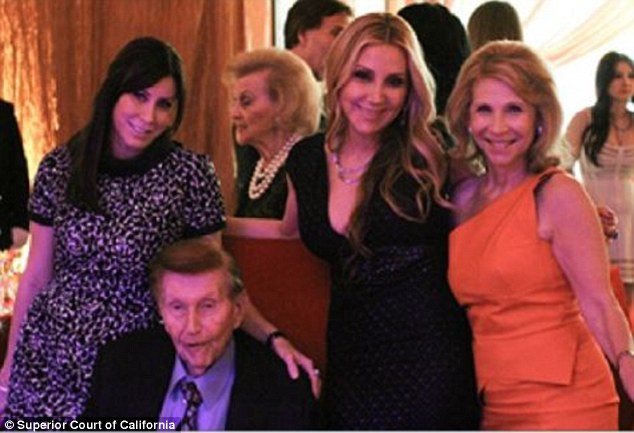 More money: Hollandalso claims Redstone gave $6million to the flight attendant's sister after sleeping with her and $6million to a friend of his grandson's girlfriend (Holland, Redstone, Manuela Herzer and Shari Redstone above)