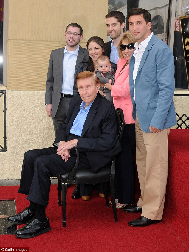 Redstone and his family are seen at his Star ceremony on Hollywood's Walk of Fame in 2012. Redstone's lawsuit claims that the women kept Redstone away from his family and friends in order to have full control of him