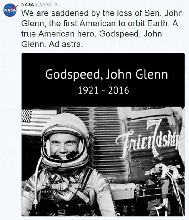 Godspeed: Nasa led tributes to John Glenn - 'a true American hero'